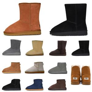 billige boots Stiefel Frauen Schneeschuhe dreifach schwarz kastanienbraun rosa dunkelgrau Mode klassisch Knöchel kurzen Stiefel Damen Damen Mädchen Stiefeletten Winterschuhe