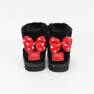 2020 новые зимние ботинки девушки черный красные ботинки Симпатичные лук узел Детиугги Дети снега сапоги Теплые кожаные сапоги Теплый Eur 24-35 c7zT #