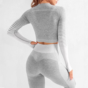 Seamless Rib Yoga Set Sport Outfits Women Two 2 Piece Tight Long Sleeve Crop top+Leggings Workout Gym Suit Fitness Sets