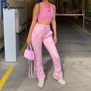 Rapcopter PINÉ Pantalons pour femmes taille haute Sport Sweatpants Poches Y2K Rose Cargo Drawstring Pants Mode Streetwear Harajuku