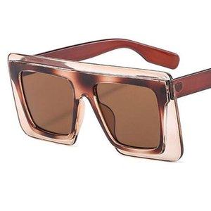 2020 Yeni Moda Büyük Boy Kare Şeffaf Güneş gözlüğü Kadınlar Tasarımcı Düz Üst çift Renk Büyük çerçeve Güneş Gözlükleri Kadın UV400