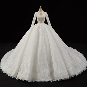 Crystal Pearls Appliques Lace Gorgeous Ball Gown Wedding Dresses Login V-neck Long Sleeve Luxury Bridal Dress China C0929