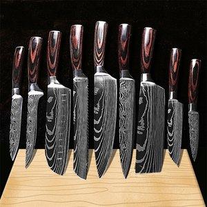оптовик 7CR17mov лезвие японская кухня Лазерная Damascus шаблон нож шеф Santoku Кливер нарезка Хозяйственные ножи Инструмент EDC
