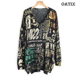 XITAO Knitted Letter Pattern Women Minority Pullover 2019 Autumn Loose V Neck Elegant Casual Style New Sweater GCC1761