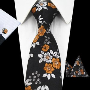 RBOCONew 도착 꽃 넥타이 패션 넥타이 7cm 블루 넥타이 레드 웨딩 남성 그린 퍼플 실크 목에 넥타이 손수건과 커프스 세트