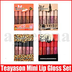Макияж губ Teayason Набор Mini Matte Liquid Lipstick lipkit Блеск для губ 5шт / набор Nude Цвет Lipgloss Макияж комплект 4 Стили