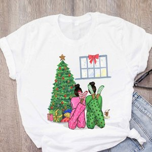 Women Graphic 90s Cartoon Happy Time Gift Tree New Year Merry Christmas Printed Tops Lady Tees Clothing Female T Shirt T Shirt
