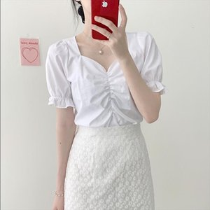 new Girls Summer blouse v neck shirt short sleeves Tops high waist bud silk lace embroidery A Line skirts two Two piece