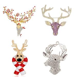 4 stili strass Natale Deer Head spilla in cristallo Renna Spilla Collana personalizzato