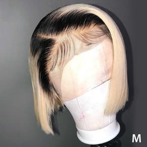 Straight 613 Blonde 13x4 Lace Front Wigs T 1B 613 Short Bob Wigs Brazilian Human Hair Wigs 150% Density Remy Hair