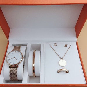 세트 레이디 시계 선물 당 보석 최고의 선물 5PCS 2020 새로운 패션 여자 시계 최고 품질 스테인레스 스틸 클래식 손목 시계