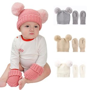 Kids Hat Gloves Two-piece Set Children's Crochet Pompom Balls Hats and Gloves Winter Boys Girls Knitted Warm Caps