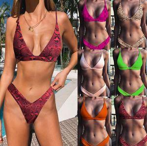 9 Farben Snakeskin Schwimmen Bikini-Sommer-Leopard-Druck-Badebekleidung Bademode Frauen tiefen V-Ausschnitt Zwei Stücke Badeanzüge Bikini
