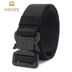HSSEE Official Genuine Tactical Belt Sturdy Matte Black Metal Buckle Sports Belt High Quality Soft Nylon Quick Release Buckle