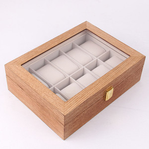 Watch Box Multiple Spezifikationen Schmuck Aufbewahrungsbox 2/3 / 6/10 / 12 Bit Einfacher europäischer Clamshell Holzgehäuse Q0120
