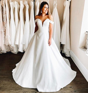 Custom Off Shoulder A Line Wedding Dresses 2021 with Cap Sleeves Sweep Train Satin Plus Size Bridal Gowns vestidos de novia