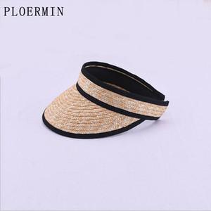 PLOERMIN 2020 새로운 핫 패션 그늘 높은 품질 스트로 맨 비치 모자 여성 여름 선 스크린 여성 태양 모자를 비 웁니다