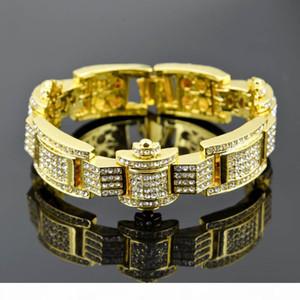 Hot Selling Men Gold Plated Paved RhineStone Bracelet Zinc Alloy Hiphop Bracelets Rapper Punk Jewelry Gift
