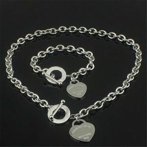 Declaración de regalo de Navidad pulsera 925 collar de plata del amor + pulsera de boda joyería del corazón collares pendientes brazalete Sets 2 en 1