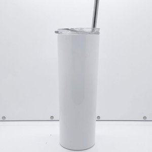 Amazon hot selling custom 20oz sublimation skinny tumbler 20 oz blank white stainless steel vacuum coffee mug with lid straw