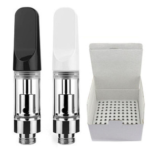 0.5ml 0.8ml 1.0ml Ceramic Vape Cartridges TH205 Ceramic White Black Mouthpieces 2.0mm Ceramic Coils Glass Vape Carts Fast Shipping