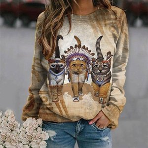 Cat Print Hoodies Women Casual Thermal Crewneck Long Sleeve Lovely Sweatshirt Loose Com Sudadera Mujer LJ201130