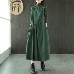Vintage Long Dress Cotton Shirt Dress Women Plus size Clothing Turtleneck Loose Ladies Dresses Casual 2021
