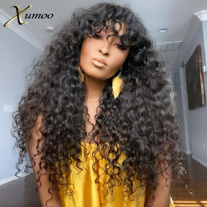 XUMOO Cheap Remy Brazilian Hair Wigs Black Color Body Wave Curly Human Hair Wigs With Bang None Lace For Black Women