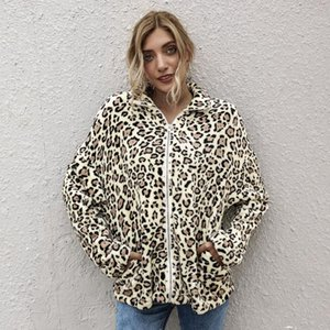 Fall Winter Women's Warm Coat Leopard Print Loose Long Sleeve High Neck Side Pocket Zipper Plush Teddy Jacket