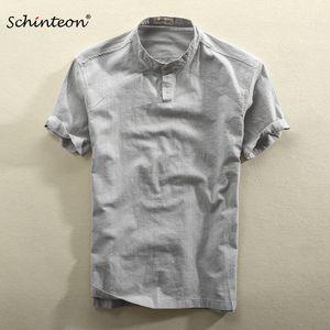 Schinteon 남성 캐주얼 코튼 리넨 셔츠 여름 단색 얇은 짧은 소매 색상 201021 스탠드