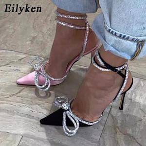Eilyken Style Glitter Strass Strass Donne di seta Pompe di cristallo Bowknot Satin Primavera Autunno Lady Shoes Shoes Tacchi alti Party Prom Shoes # Zu22