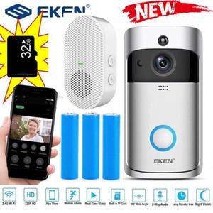 Doorbells EKEN V5 Wifi Smart Home Video Doorbell Camera Door Bell With Chime Night Vision PIR Motion Detection APP Control