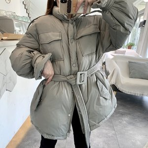LY VAREY LIN New Winter Women 90% White Duck Down Coat Casual Loose Zipper Jacket Thick Warm Snow Outwear with Belt Y1110