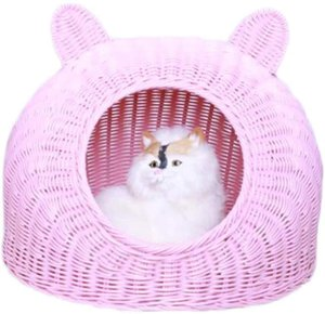Rattan cat bed Pet Woven Cave Bed Woven Summer Breather Pet House Basket for Cat Kitten Puppy Dog