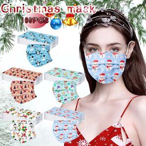 Дизайнерские маски для лица Рождество для взрослых Мультфильм Санта-Клаус снеговика дышащий Одноразовая 3 слоя против пыли смога Haze Защитные маски
