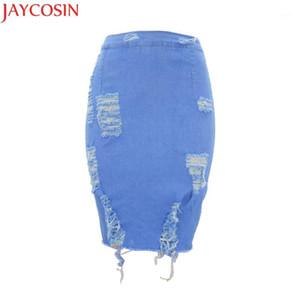 Jaycosin KLV 2018 Jupe Jupe Jupe Femmes Femmes Taille High Taille déchirée Denim Denim Bronzant Crayon Mini Jean Skirts401