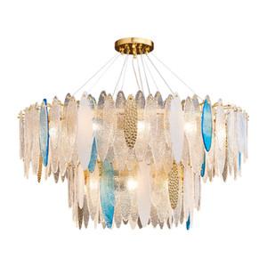 Art Deco LED Postmodern Glass Iron LED lights Chandelier Lighting Lustre Suspension Luminaire Lampen For Dinning Room villa home fixtures