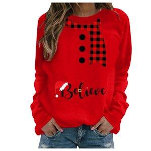 S-3XL Chirstmas Блуза для женщин печати с длинными рукавами Толстовки вскользь кофточки россыпей пуловеры Tops