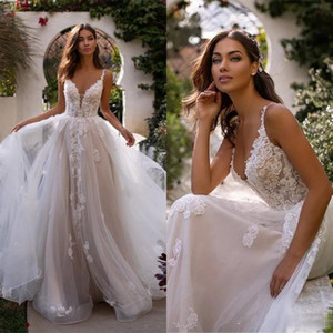 Cheap Sexy Spaghetti Straps Lace A Line Wedding Dresses Tulle Applique Ruffles Plus Size Court Train Garden Wedding Bridal Gowns