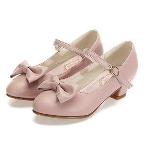 ULKNN spring new children's imported high-heeled shoes big Girls performance dance performance single shoes girls 201026