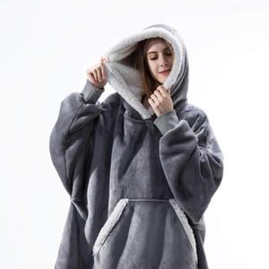 Женские толстовки негабаритные капюшоны одеяло с рукавами толстовка зимний флис толстовки женские карманные женские шерпы гигантский с капюшоном