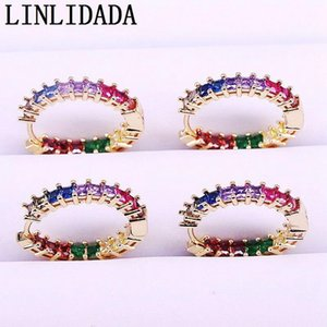 6Pairs 25mm, Colorful Zirconis Earring For Women Gold Color Round circle rainbow cz Earrings Party Jewelry1
