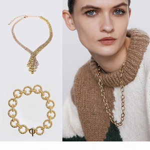 2019 Women Fashion Necklace Metal Sweater Chain Gold Color Retro Party Jewelry Crystal Gift Statement Choker New Charm