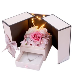 Romantic Rose Flower Gift Box Jewelry Box Soap Flower Rose Carnation Mother's Day Valentine's Day Gift with LED Light GWF4351
