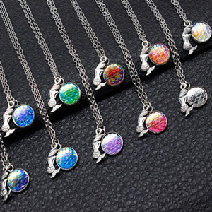 New Fashion Multicolor Creative Alloy Resin Mermaid Fish Scales Convex Surface Pendant Necklace Jewelry Lovely Gifts