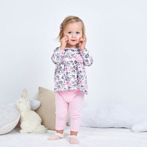 New 0-3 years old children's Girls' cotton long sleeves + trousers two piece Suit baby clothes 2021 Fashion Black Friday YWFS
