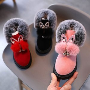 Child Flock Ankle Boots Girl Fashion Boot 2020 Winter Warm Plush Pointed Toe Shoes Kid Antislip Casual Shoes Pink Red 21-30 #11