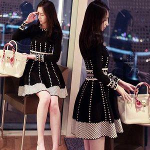 Casual Dresses 2021 Spring Autumn Women's Knitting Dress High Waist Elegant Fashion Sweater Long Sleeve Pleate Black Mini