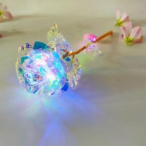 24k hoja de oro plateado Rose llevó la flor del arco iris Rose regalo de San Valentín luz chapado en oro de Navidad de la boda Decoración FWF2490