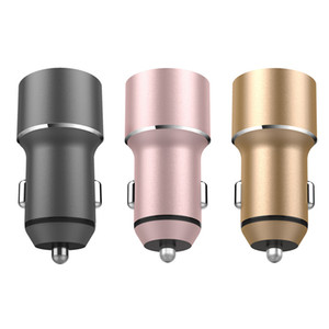 LED Dual USB Car Charger Customized Metal Charger Micro USB Car Plug Vehicle Portable Power Adapter 5V 3.4A For Apple Samsung OWD2630